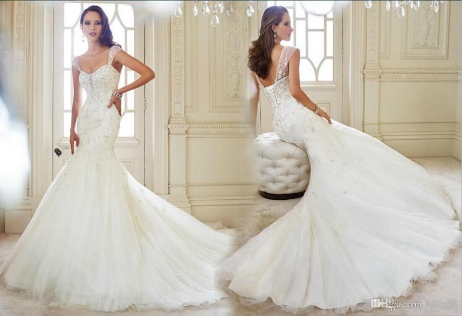 New arrival sexy mermaid wedding dresses applique beaded
