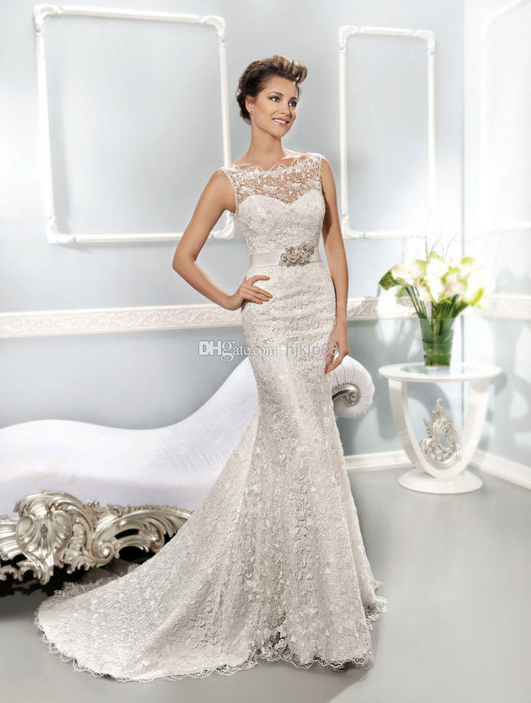 2014 collection best selling illusion neckline covered for Best lace wedding dresses
