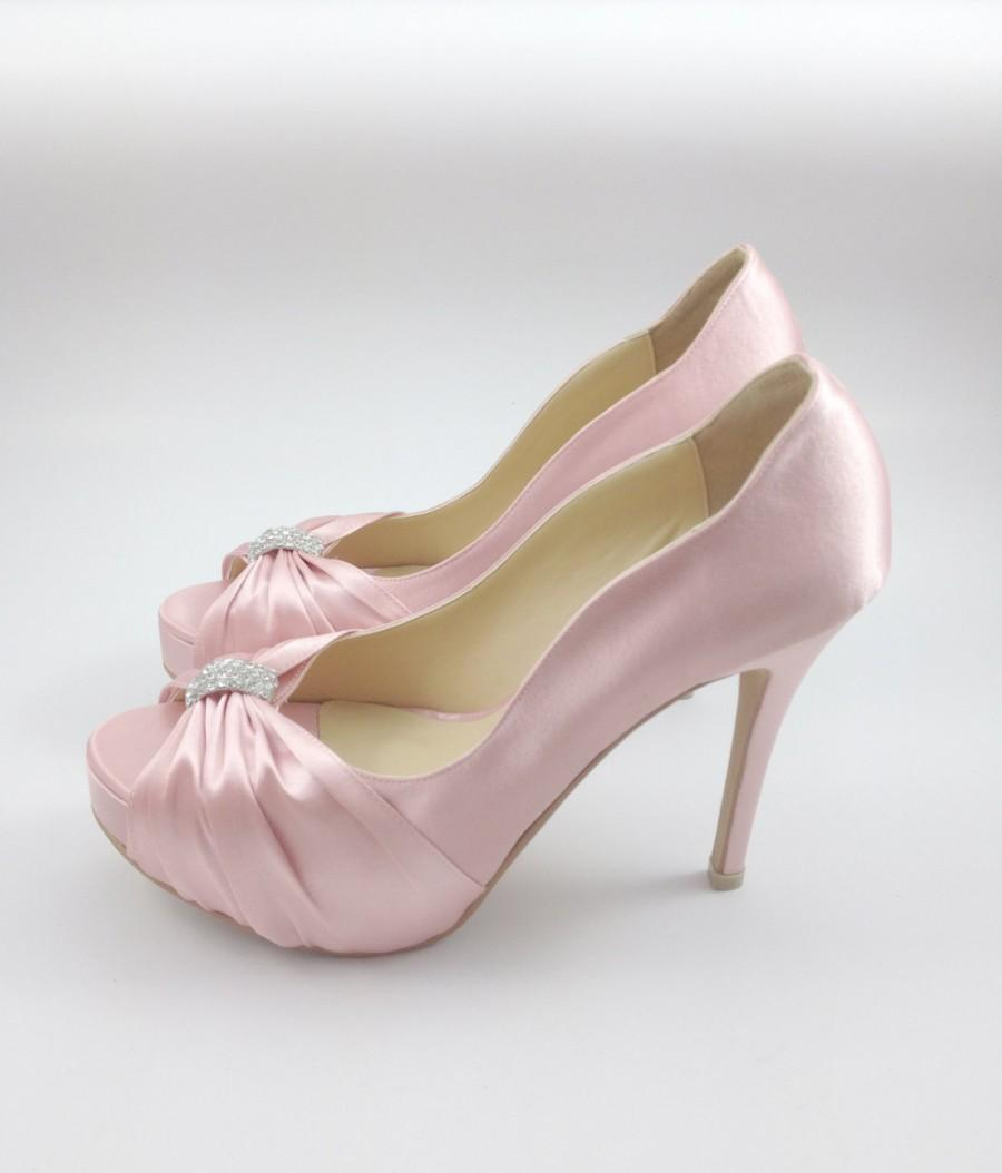 Sweet Pink Wedding Shoes With Rhinestones, Pastel Pink Bridal ...