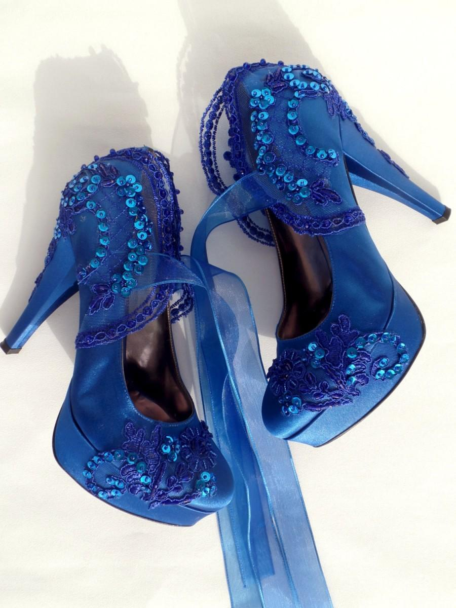 Wedding Shoes   Royal Blue Embroidered Lace Bridal Shoes