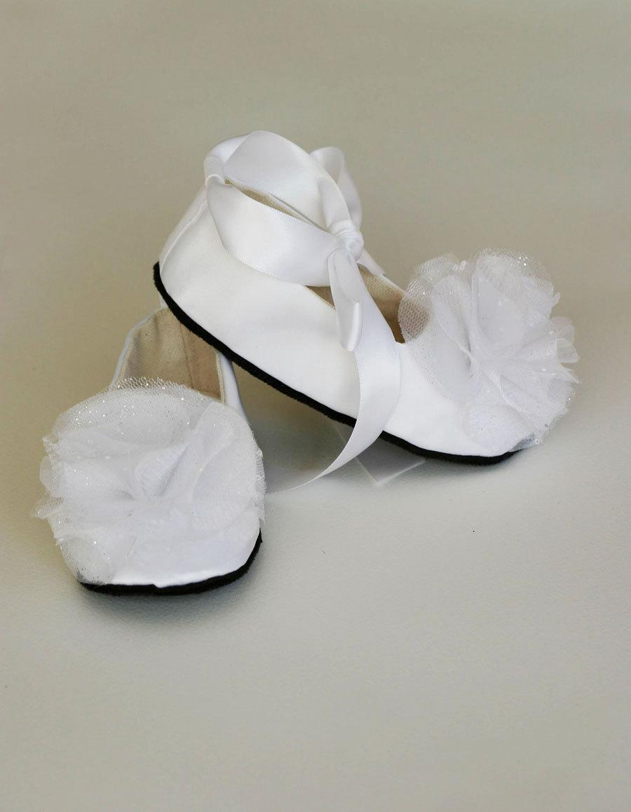 White Satin Baby Shoe Toddler Couture Ballet Slipper 23 Colors