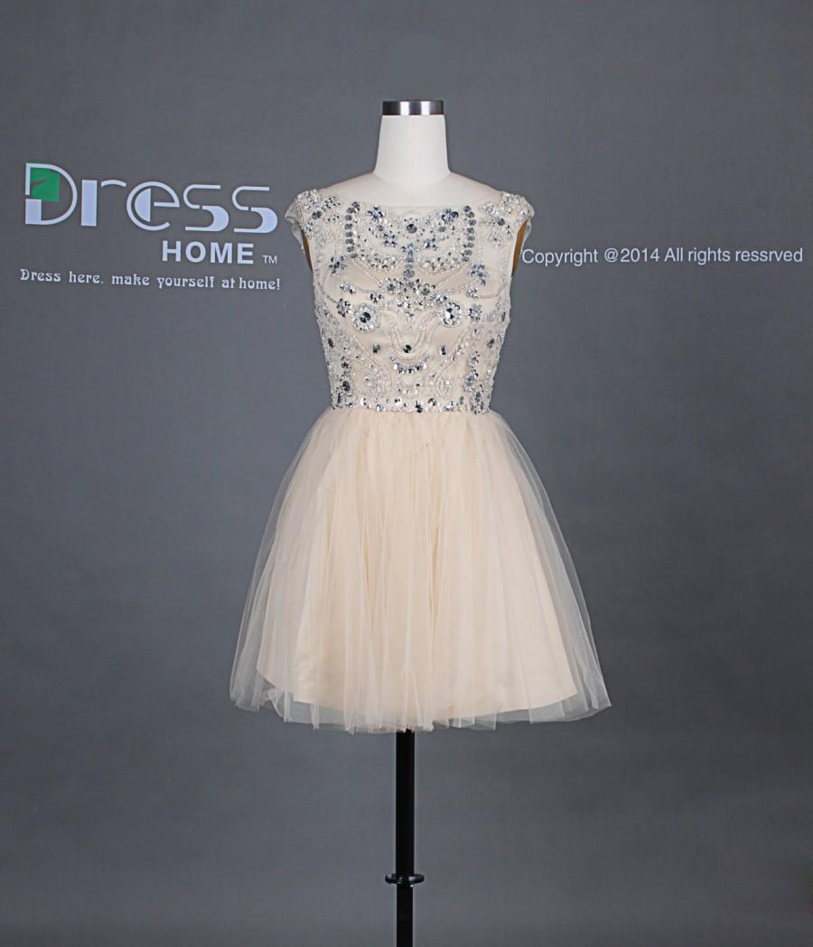 New Arrival Champagne Scoop Cap Sleeve Beading Rhinestone Open Back Homecoming  Dress Sexy Party Dress Short Tulle Prom Dress DH246 0b0215d5e