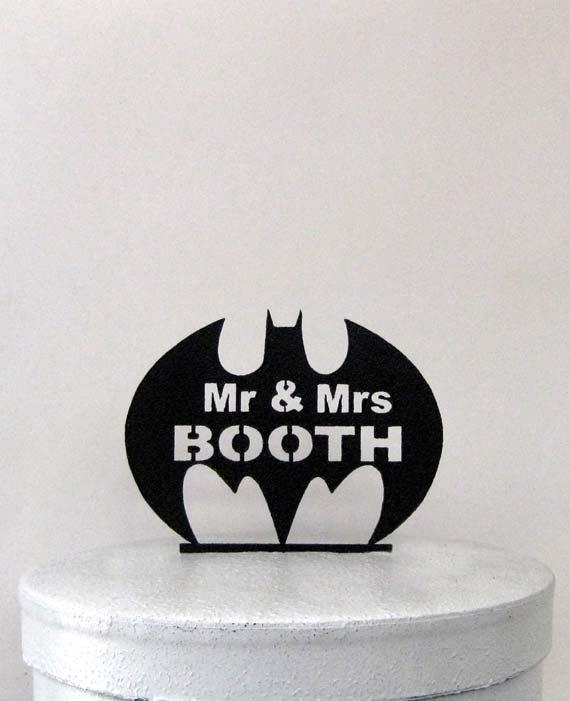 Wedding - Custom Wedding Cake Topper - Batman symbol with Mr & Mrs name