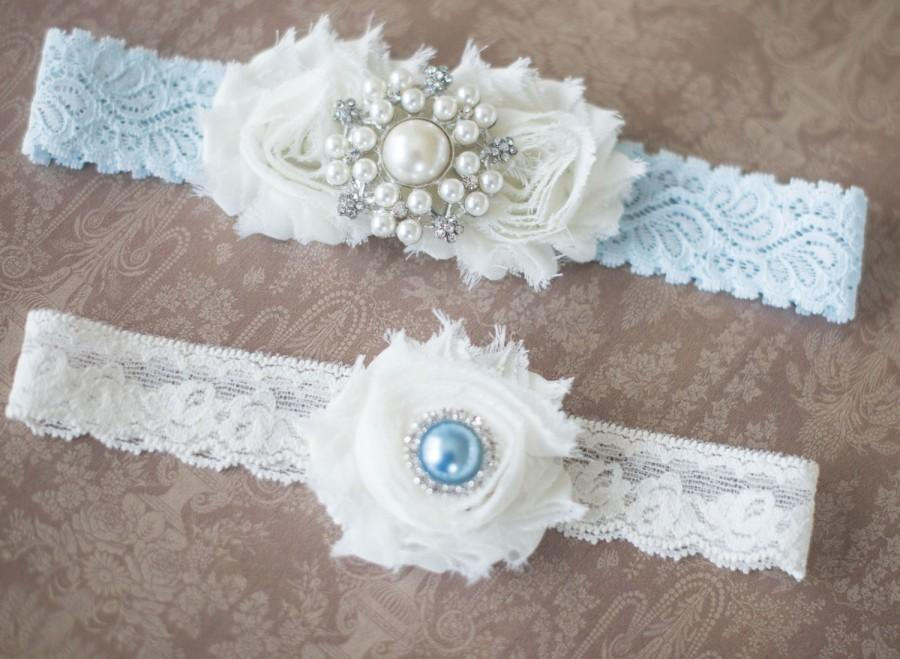 Wedding Garter Ivory And Blue Set Bridal Vintage