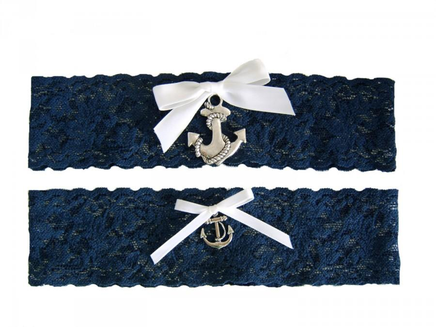 Navy Blue And White Stretch Lace Wedding Garter Set With Sailor Anchor Nautical Marine Boating Sea Themed