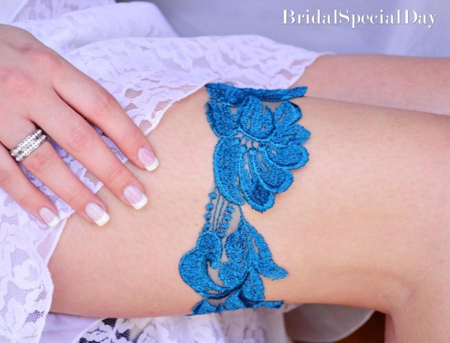 Hochzeit - Wedding Teal Garter Lace Garter Bridal Garter Set Wedding Garter Something Blue Wedding Garter - Handmade Wedding Accessories