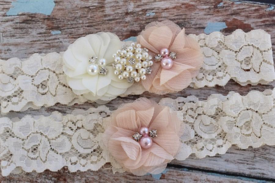 Свадьба - Your  Color, Blush Garter Set , Wedding Garter , Ivory and Blush Garter , Garter , Garter Set , Bridal Garter