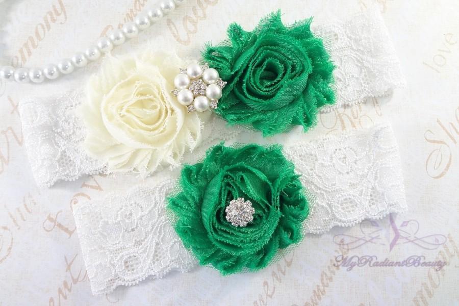Свадьба - Wedding Garter Set, Garter, Bridal Garter, Shabby Chiffon Rosette Ivory Green Garter, Sexy Garter, Handmade Garter, Bridal Garter GTF0026G