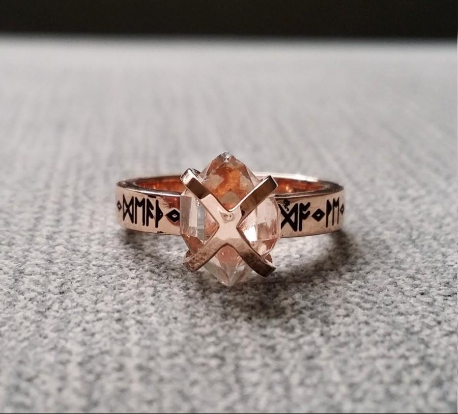 rustic herkimer diamond engagement ring nordic runes terminated quartz old world norse mythology viking 14k rose gold hammered the frigg - Viking Wedding Rings
