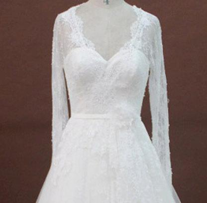 Wedding - Long Sleeve Lace Simple Wedding Dress with Keyhole Back