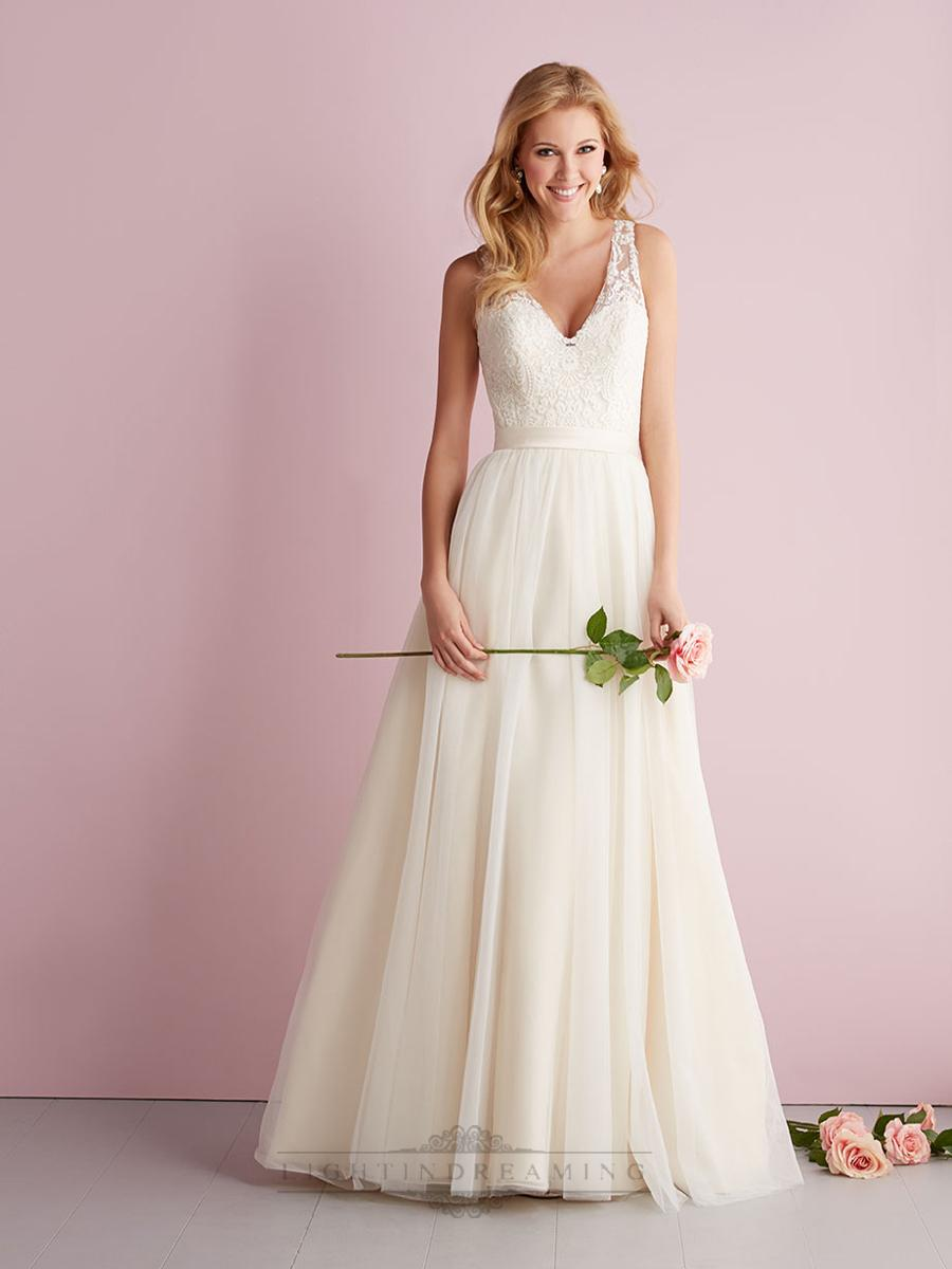 Hochzeit - Straps A-line V-neck Wedding Dresses with Illusion Back - LightIndreaming.com