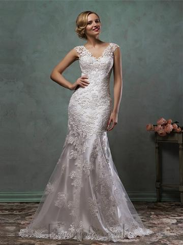 Mariage - Cap Sleeves V Neck Lace Embroidery Fit Flare Trumpet Mermaid Wedding Dress