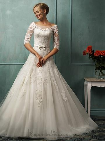 Half Sleeves Illusion Bateau Neckline A-line Lace Wedding Dress With ...