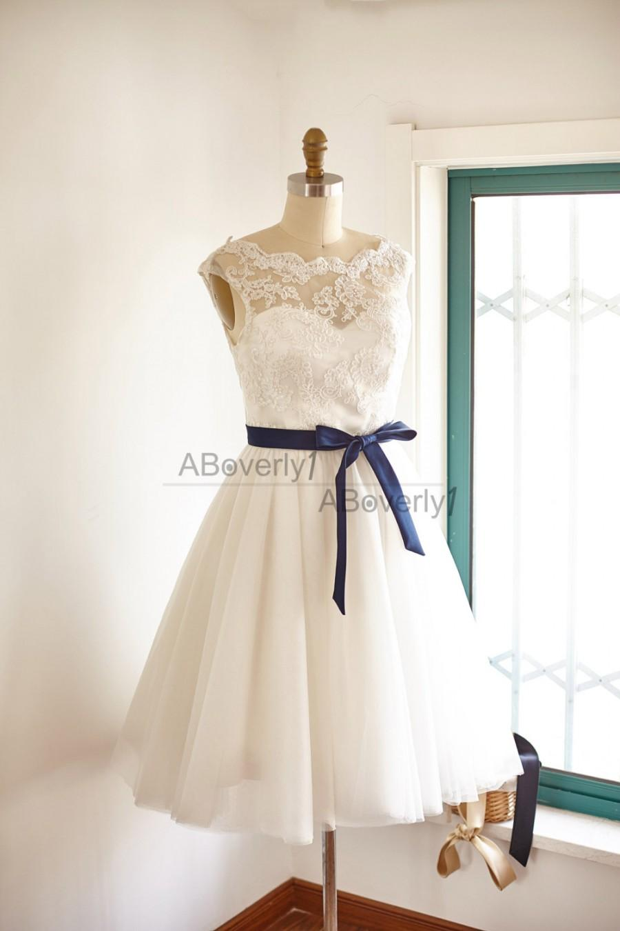 Mariage - Fun Short Lace Tulle Wedding Dress Bridal Gown