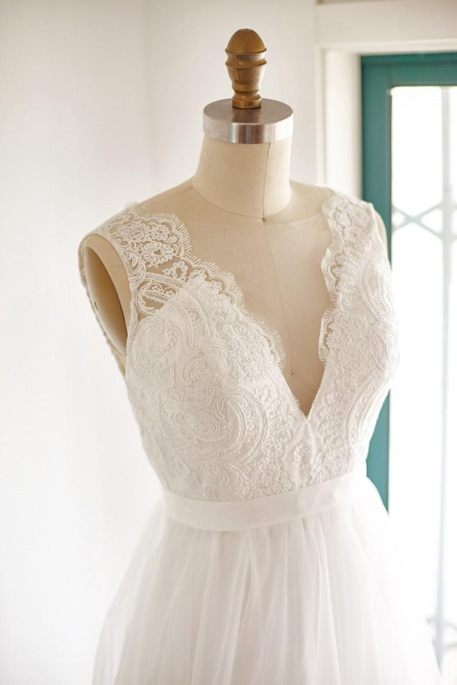 Mariage - Sheer Illusion Lace Tulle Beach Boho Wedding Dress Bridal Gown