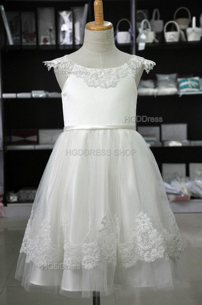 14bea9c23 White Flower Girl Dress,lace Birthday Party Dress,girls pageant dresses,junior  Bridesmaid dress,flower girl dresses,baby dress