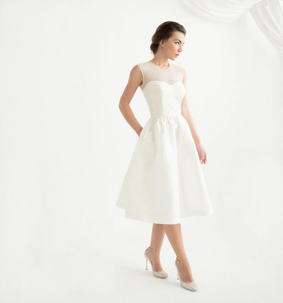 Ivory sleeveless knee length wedding dress marta dress for Ivory knee length wedding dresses