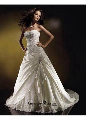 Düğün - Beautiful Elegant Divine Taffeta A-line Wedding Dress In Great Handwork