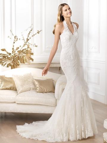 Wedding - Exquisite Halter Neck Mermaid Wedding Dress Featuring Applique