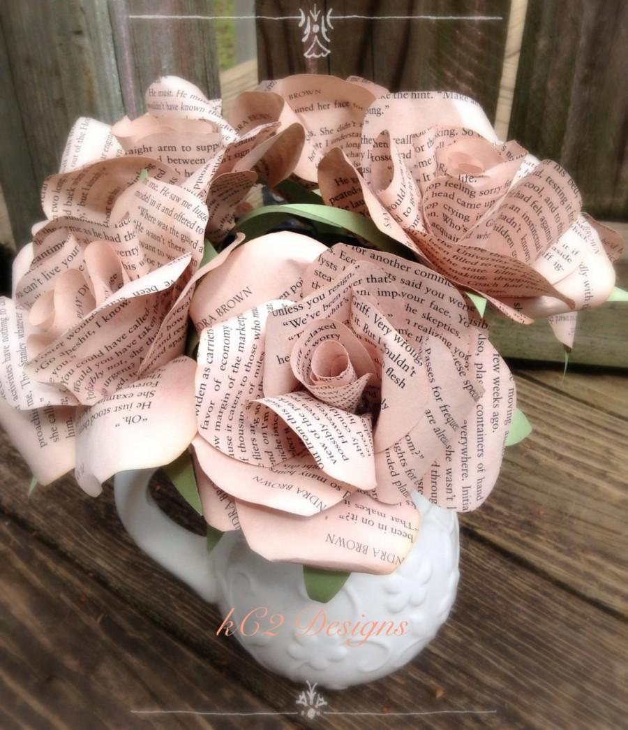 Tea paper flowers stained paper roses set of paper roses wedding tea paper flowers stained paper roses set of paper roses wedding centerpiece bridal bouquet blush wedding mothers day book pages mightylinksfo