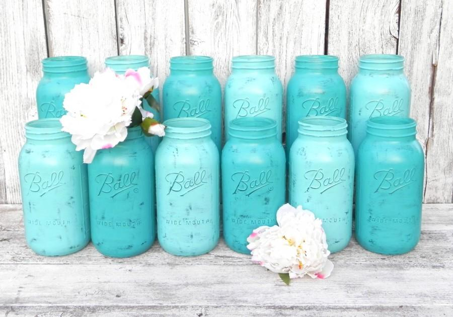 Wedding - Shabby Chic Mason Jars for Wedding Decor, Vases, Centerpiece in Turquoise and Aqua, Half Gallon Mason Jars