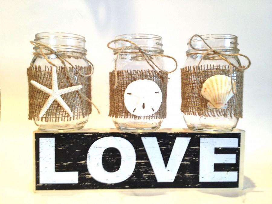 Wedding - Set of 6 Mason jar centerpiece-candle holder- beach wedding mason jar with starfish sand dollars and seashells
