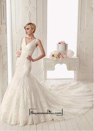 Wedding - Alluring Tulle with Dots & Satin & Organza Mermaid V-neck Neckline Tank Sleeves Floor-length Wedding Dress with Lace Appliques