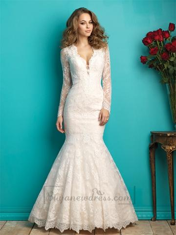 Long Sleeves Plunging V-neck Lace Wedding Dress With Sheer Illusion ...