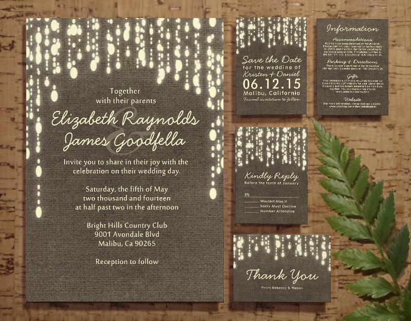 Country String Of Lights Wedding Invitation Set/Suite ...