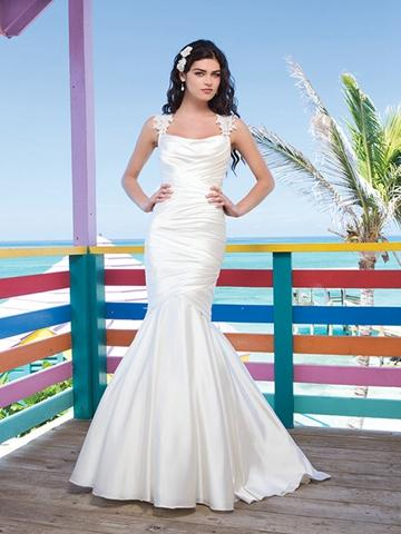 Mariage - Lace Cap Sleeves Charmeuse Asymmetric Draped Mermaid Wedding Gown