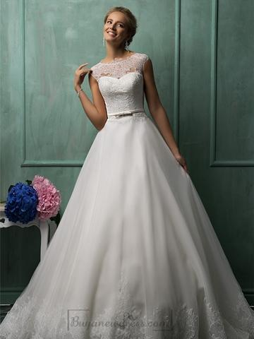 Hochzeit - Cap Sleeves Illusion Neckline A-line Wedding Dresses