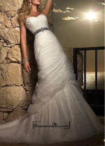 Wedding - Amazing Over Lace & Satin Mermaid Strapless Sweetheart Neckline Natural Waist Full Length Wedding Dress With Beadings and Rhinestones