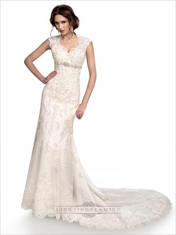 Свадьба - Cap Sleeves Sweetheart Scalloped Neckline Beaded Lace Wedding Dress with High Keyhole Back