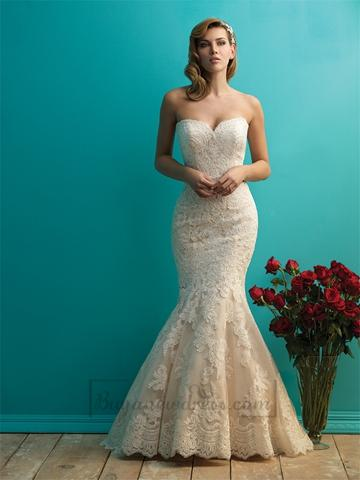 Mariage - Fit and Flare Sweetheart Lace Wedding Dresses