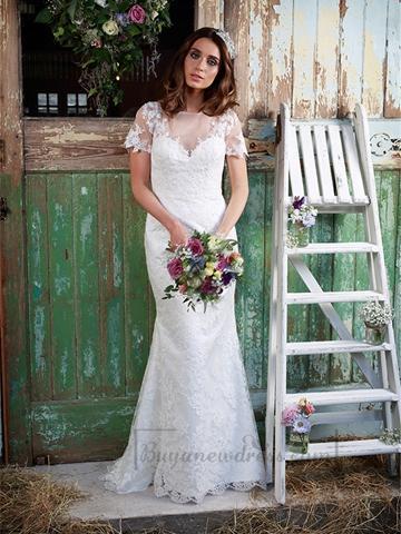 Wedding - Illusion Neckline Short Sleeves Lace Mermaid Wedding Dress