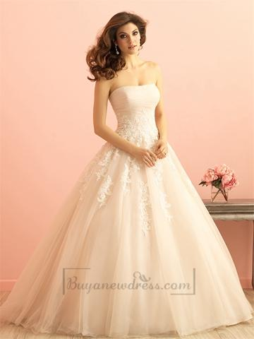 Hochzeit - Strapless Ruched Bodice Lace Appliques Princess Ball Gown Wedding Dress