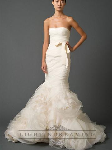 Strapless Sweetheart Trumpet Pleated Wedding Dress With Low Back ...