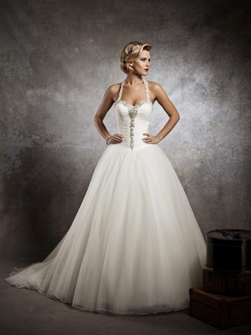 Wedding - Designer Sweetheart Beaded Neck Ball Gown Wedding Dress with Deep V-back