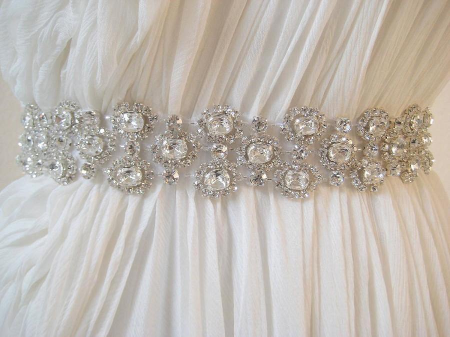 Свадьба - Bridal wedding luxury beaded Czechoslovakia crystal wedding sash/belt.  CHANTILLY CRYSTAL.