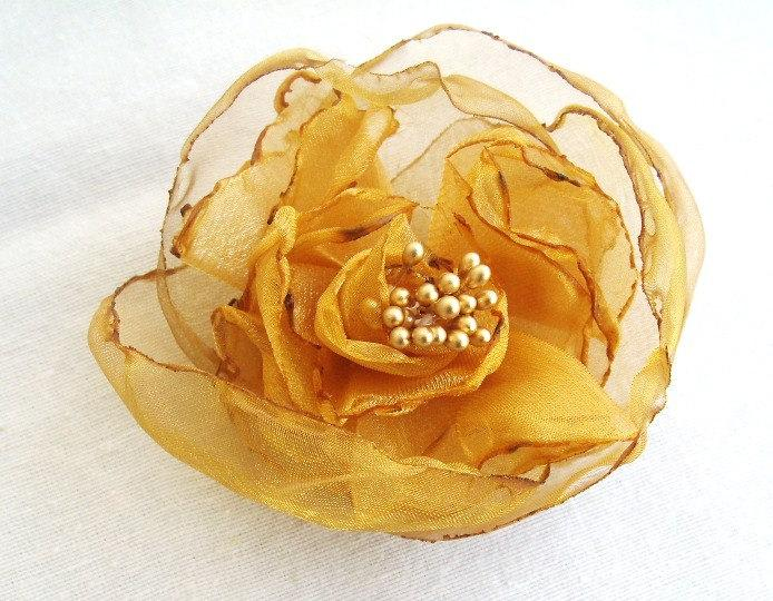 Mariage - Golden Yellow Organza Bridal Flower Hair Clip with Gold Stamen Fall Autumn Wedding Accessories