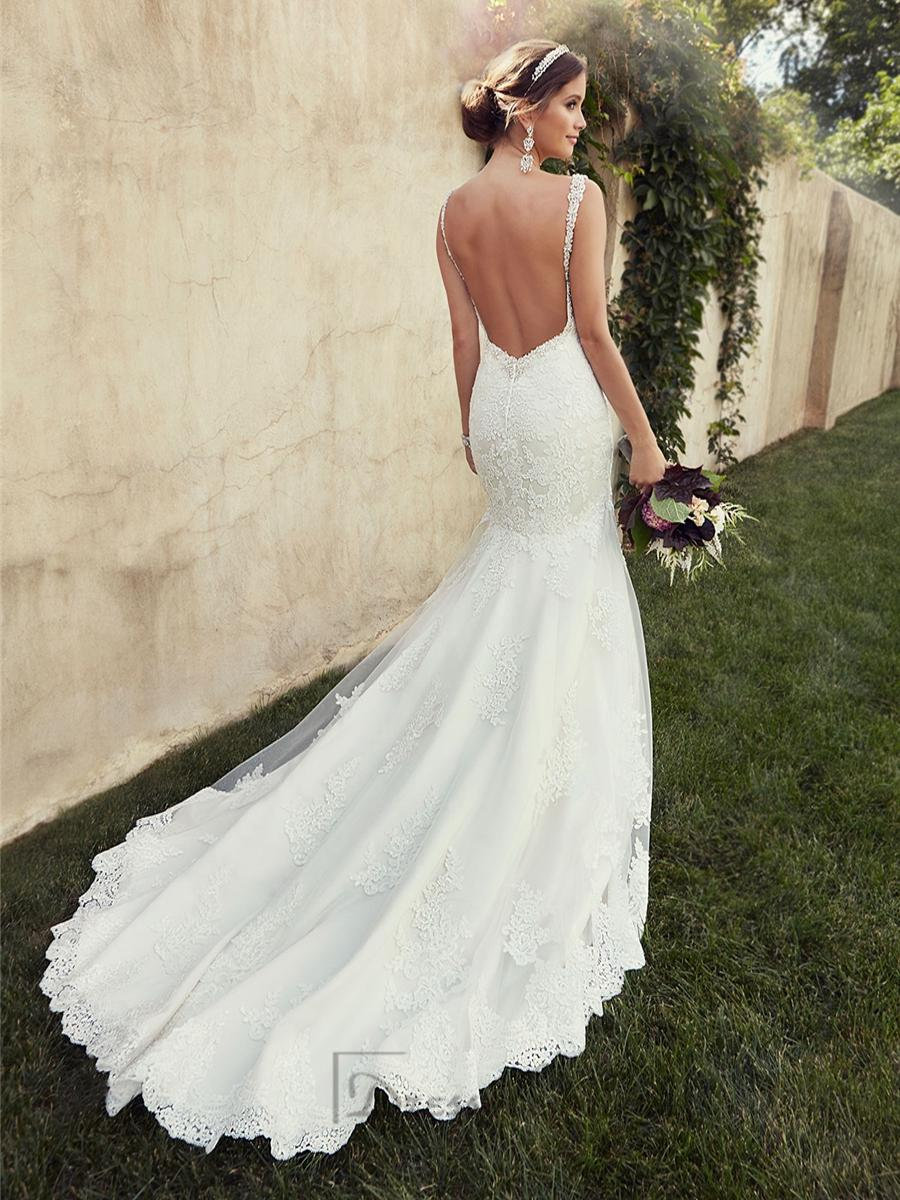 Beading straps sweetheart fit and flare lace wedding for Lace low back wedding dress