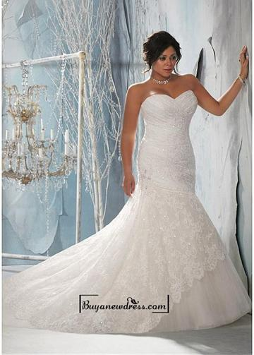 Alluring Lace Satin Sweetheart Neckline Natural Waistline Mermaid
