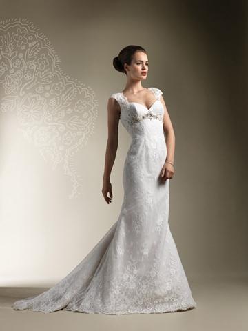 Mariage - Sleeveless Beaded Empire Trumpet Wedding Dress with Keyhole Back