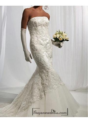 Свадьба - Beautiful Elegant Satin & lace & tulle Mermaid Strapless Wedding Dress In Great Handwork