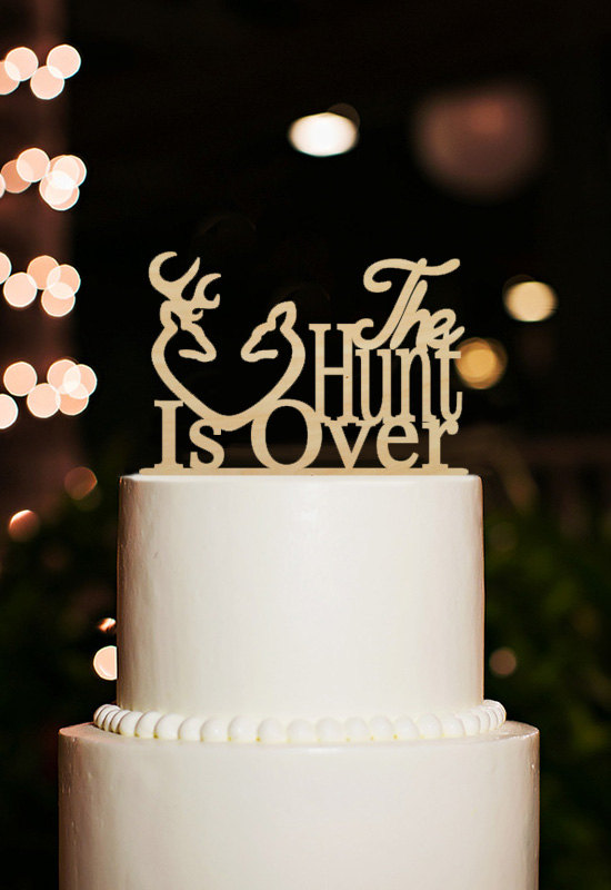 Wedding - The Hunt Is Over Cake Topper,Wood Wedding Cake Topper,Rustic Hunting Cake Topper, Antler Cake Topper,Deer Cake Topper,Engagement Topper