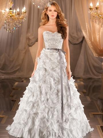 زفاف - A-line Sweetheart Beading Bodice Wedding Dress with Dramatic Textural Skirt