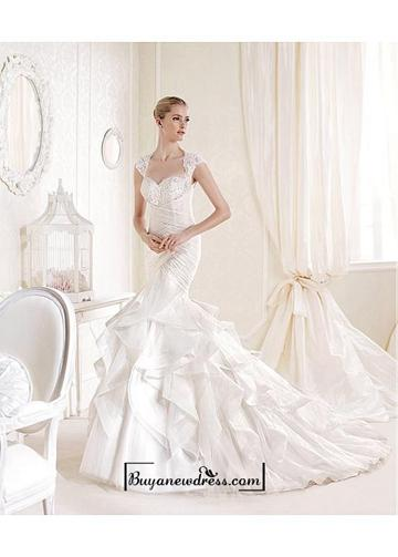 Свадьба - Alluring Tulle & Satin Queen Anne Neckline Natural Waistline Mermaid Wedding Dress