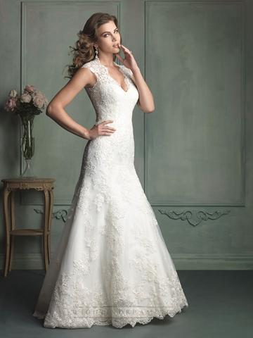 Hochzeit - Cap Sleeve Plunging Neckline Mermaid Wedding Dress with Paneled Back