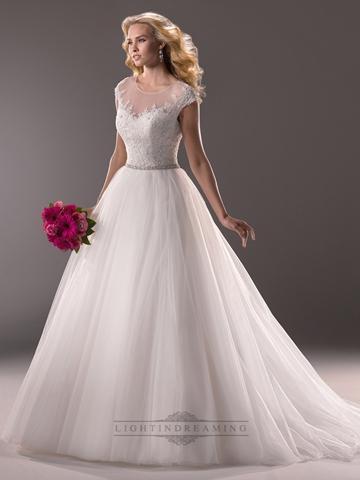 Wedding - Cap Sleeves Sheer Neckline Sequin Ball Gown Wedding Dress with Beaded Belt