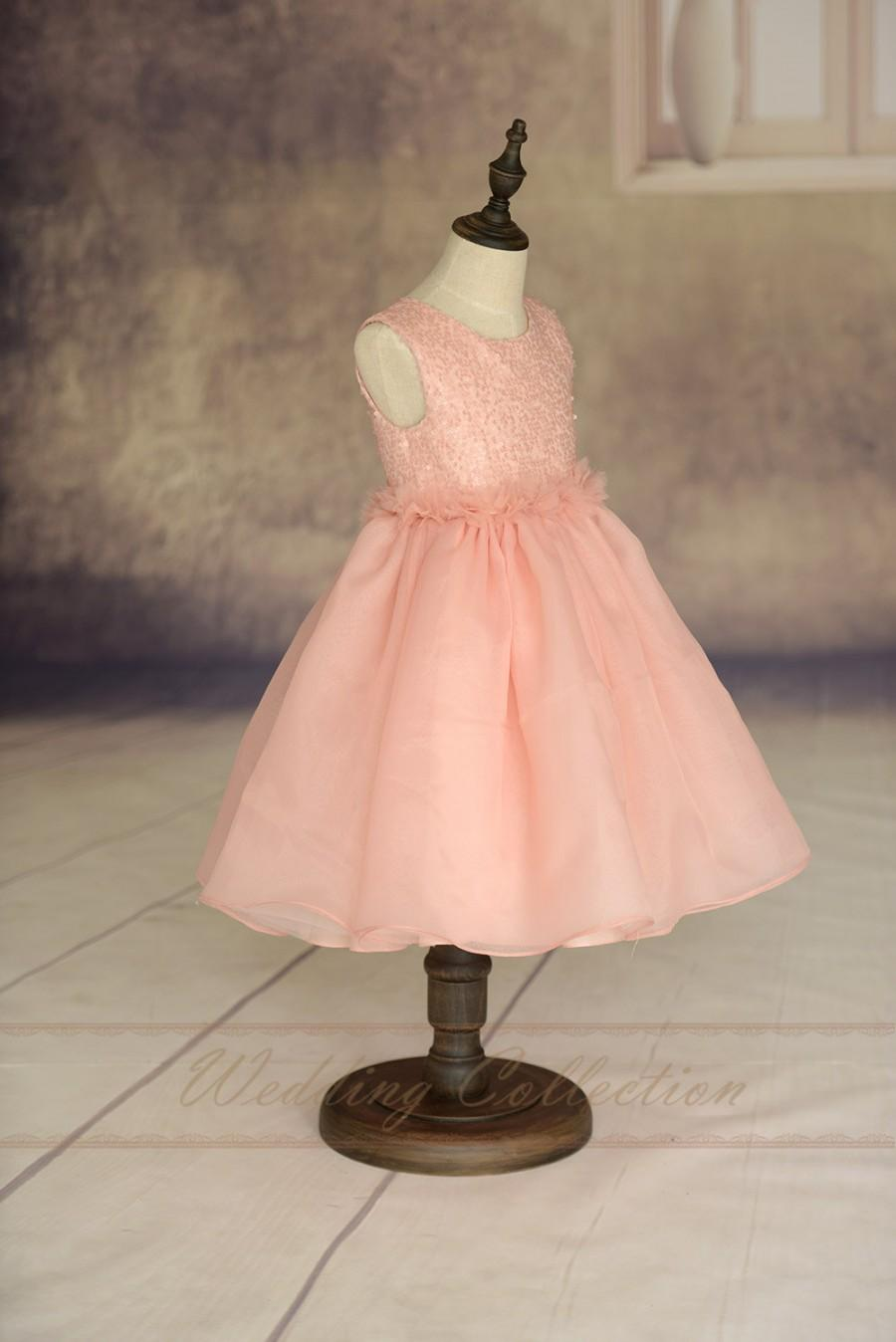 Wedding - Blush Pink Flower Girl Dress Handmade Flowers Waistband Tulle Skirt